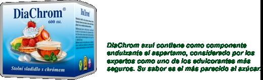 DiaChrom azul contiene como componente endulzante el aspartamo, considerado por los expertos como uno de los edulcorantes más seguros. Su sabor es el más parecido al azúcar.