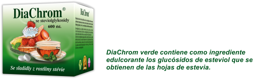 DiaChrom verde contiene como ingrediente edulcorante los glucósidos de esteviol que se obtienen de las hojas de estevia.