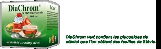 DiaChrom vert contient les glycosides de stéviol que l´on obtient des feuilles de Stévia.